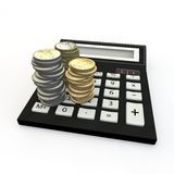Calculator and euro coin Stock Photography