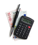 Calculator and euro currency Royalty Free Stock Photo