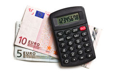 Calculator and euro currency Stock Photos