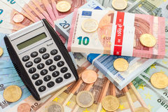 Calculator with Euro currency Stock Photography