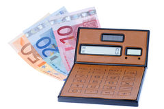 Calculator and euromoney note Royalty Free Stock Photography