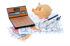 Calculator and euromoney note. Brown calculator, compass, project, Piggy bank and euromoney, bill Stock Images