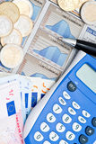 Calculator and Euros Royalty Free Stock Photos