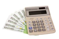 Calculator and euros Royalty Free Stock Images