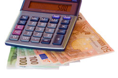 Calculator and euros Stock Images
