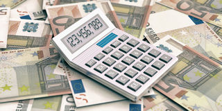 Calculator on euros background. 3d illustration. Calculator on 50 euros banknotes background. 3d illustration Stock Image