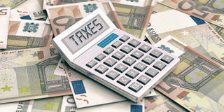 Calculator on euros background. Word taxes in display. 3d illustration. Calculator on 50 euros banknotes background. Word taxes in display. 3d illustration Royalty Free Stock Photos