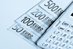 Calculator, euros banknotes Stock Photography