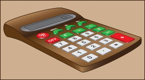 CALCULATOR EXAMPLE ON BEIGE BACKGROUND. Electronic device for performing mathematical operations Stock Photo