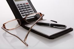 Calculator with exercise books Stock Photo