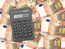 Calculator on fifty euro background. Calculator on a fifty euros background Royalty Free Stock Photography