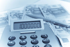 Calculator on the fifty euro banknotes Stock Images