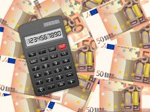 Calculator on fifty euro background. Calculator on a fifty euros background Royalty Free Stock Photos