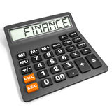 Calculator with FINANCE on display. Calculator with FINANCE on display on white background. 3D illustration Royalty Free Stock Photography