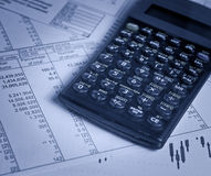 Calculator and financial charts Royalty Free Stock Photo