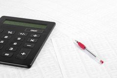 Calculator and financial data Royalty Free Stock Photos