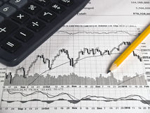 Calculator financial paper. Calculator and pencil on the charts graph paper stock image