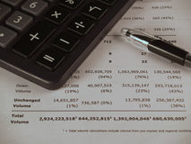 Calculator financial paper and pen. Calculator and pen on the white paper with calculation stock image