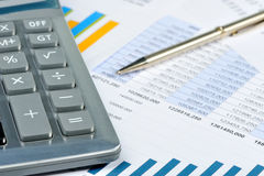 The calculator and the financial report Stock Images