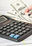 Calculator and the financial report Royalty Free Stock Photo