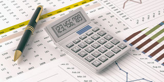 Calculator on financial reports. 3d illustration. Calculator on data analysis documents. 3d illustration Royalty Free Stock Images