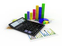 Calculator, financial reports and graphics Stock Image