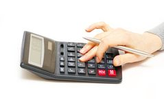 Calculator with finger Royalty Free Stock Images
