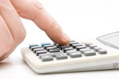 Calculator  with finger Royalty Free Stock Photo