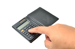 Calculator with finger Royalty Free Stock Photography