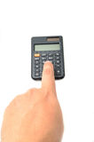 Calculator with finger Stock Image