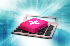 Calculator with first aid box Stock Image