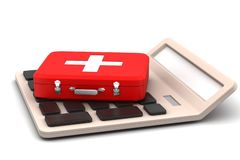 Calculator with first aid box Stock Images