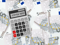 Calculator on five euro background Stock Photos