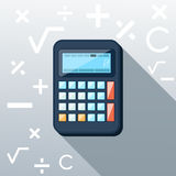 Calculator Flat Concept Icon Vector Illustration. Calculator icon with mathematical symbols multiplication division plus minus construction background in the Stock Photography