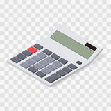 Calculator. Flat isometric. Blank buttons and display. Solar battery. Computing device. Web icon calculator. Assistant for the student. Vector illustration Stock Image