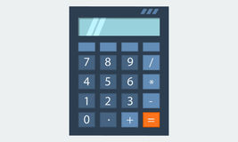 Calculator, flat solid color design,  eps10 illustration icon. Calculator, with light blue screen, flat solid color design,  eps10 illustration icon Stock Photo