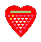 Calculator in form of red heart Stock Photo