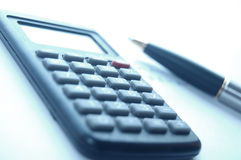 Calculator, fountain pen Stock Photography