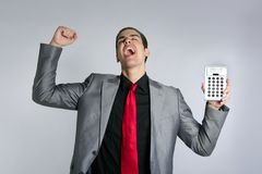 Calculator give good results to young businessman Royalty Free Stock Photo