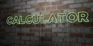 CALCULATOR - Gloeiend Neonteken op metselwerkmuur - 3D teruggegeven royalty vrije voorraadillustratie Stock Afbeeldingen