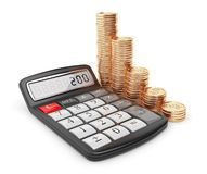 Calculator and gold coin. Icon 3D Stock Photos