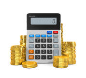 Calculator and Gold Coins. Isolated on white background. 3D render Stock Images