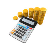 Calculator and Gold Coins Stock Photography