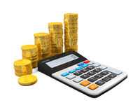Calculator and Gold Coins Royalty Free Stock Photo