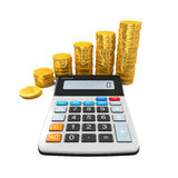 Calculator and Gold Coins. Isolated on white background. 3D render Stock Photos