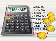 Calculator, golden coins and a sheet of paper. Vector calculator, golden coins and a sheet of paper with calculation Royalty Free Stock Photography