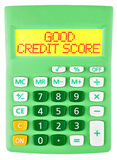 Calculator with GOOD CREDIT SCORE on display Royalty Free Stock Image