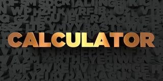 Calculator - Gouden tekst op zwarte achtergrond - 3D teruggegeven royalty vrij voorraadbeeld Royalty-vrije Stock Afbeeldingen