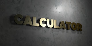 Calculator - Gouden tekst op zwarte achtergrond - 3D teruggegeven royalty vrij voorraadbeeld Stock Fotografie