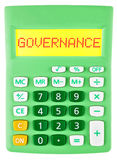 Calculator with GOVERNANCE on display isolated Stock Image